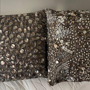 Donna Karan small beaded accent pillows